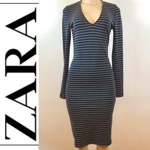 🔥 Navy Blue striped long sleeve dress